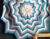 Vintage Round Afghan Blanket  Throw Pink, Blue and White Rosette