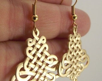 Gold Oriental Knot Earrings, Gold Earrings