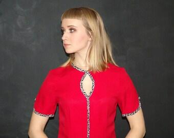 Vintage Red DRESS, Jennifer James, 1990s