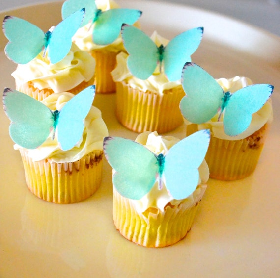 EDIBLE Butterflies Small Teal Blue Green- Cake & Cupcake toppers ...