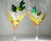 Hummingbird Wine Glasses Hand Painted Glassware Custom Design Goblet Pair