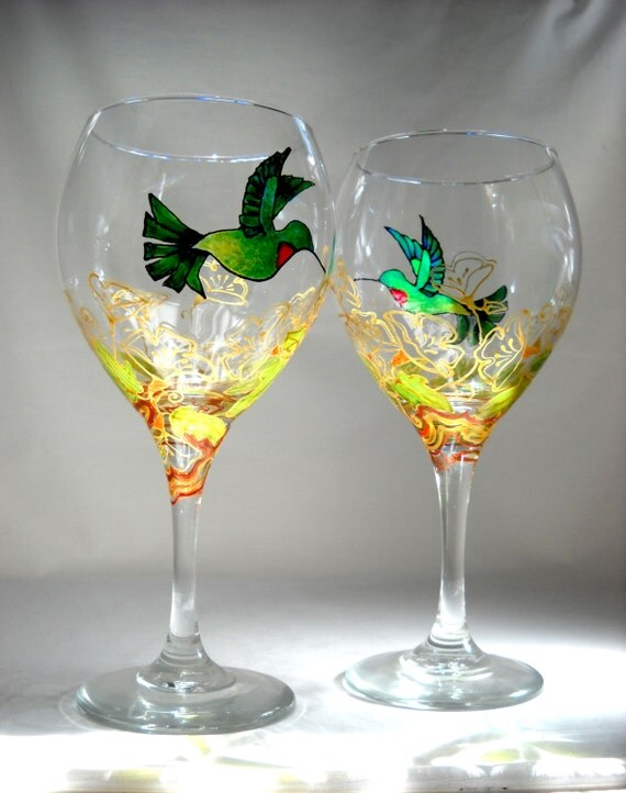 Hummingbird wine glasses hand painted by skyspiritstudios for Hand designed wine glasses