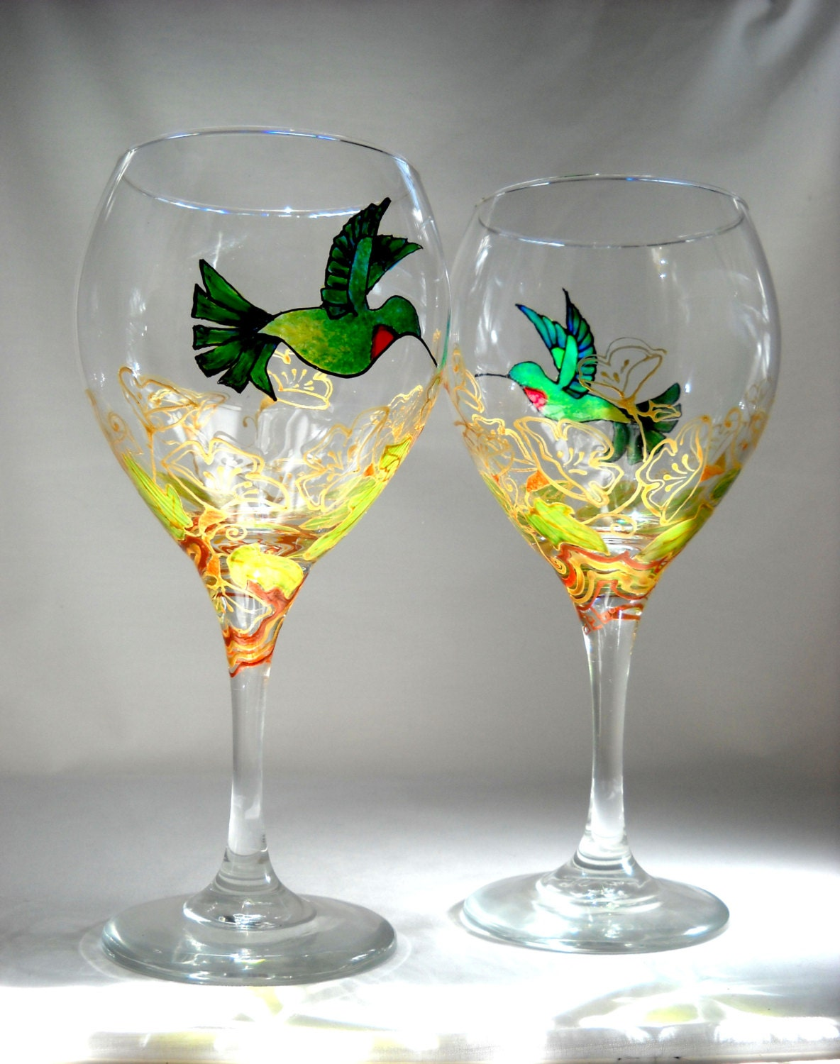 Hummingbird glasses hand painted wine by skyspiritstudios for Hand painted wine glasses