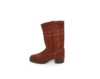 Vintage 80s Acorn Brown Suede Leather Rustic Cowboy Ankle Boots men 9 9.5 women 10.5