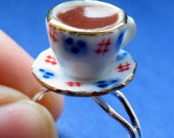Miniature Food Jewelry Cup of Tea Ring