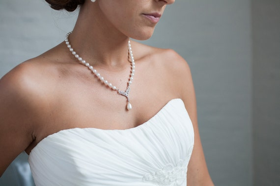 Pearl Necklace, Pearl Rhinestone Bridal Necklace, Wedding Jewelry, Pearl Bridal Jewelry, Ivory Pearls, White Pearls