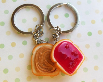 strawberry jam peanut butter and jelly bff best friend key chains polymer clay pb and j
