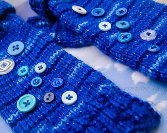 CUSTOM Knitted Fingerless Gloves with Buttons - PAIR