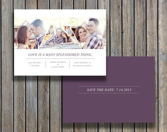 Save the Date Photo Card Template Design (PSD) - INSTANT DOWNLOAD - Wedding Photography Photoshop Template - Design By Bittersweet
