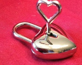 Medium Heart Shaped Nickel Plated  Working Padlock
