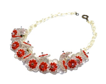 30s Translucent Daisy Chain Tassel Necklace - Satin Glass AB & Red Plastic Flowers