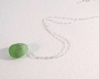 Olive Green Sea Glass Necklace on Sterling Silver Chain