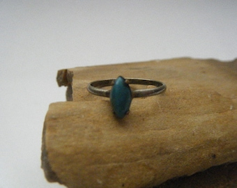 Nickel Silver Ring Turquoise Marquise Size 4.25