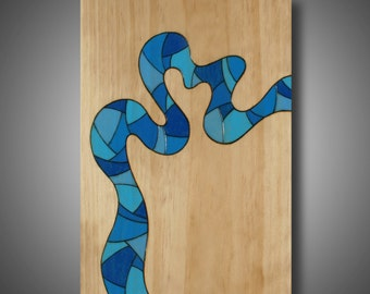 """Original Abstract Modern Art - Wood burned Pine Colored with Prismacolor Pencil 11.25"""" x 16"""" Modern Home Decor """"Passage"""" Abstract Art"""