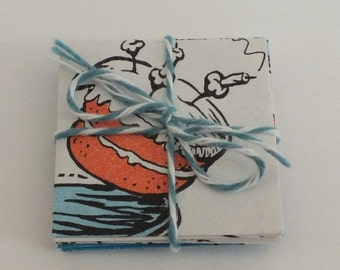 Itsy Bitsy Envelopes w/ Blank cards, Dr. Seuss Bookpages, The Cat in the Hat, 1.5 inches square, 10 per set