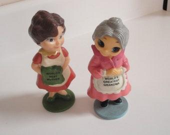 World's Best Mother Grandma Figures Vintage 1970s