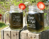 Engagement Gift Glasses (2) Etched Mason Jar Mugs, Couples Gift, Just married, Personalized Wedding Gift, Tea Cup, Wedding Present