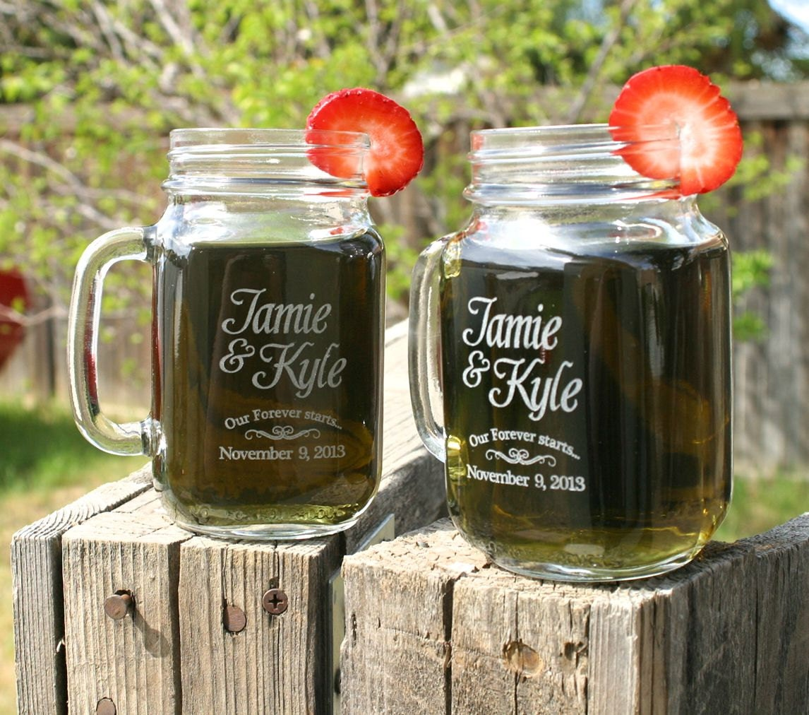 Wedding Gift Ideas With Mason Jars : Engagement Gift Glasses Mason Jar Mugs Couples Gift by ScissorMill