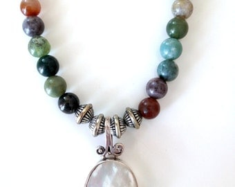 SALE... Multi Color Agate Gemstone and Sterling Mother of Pearl Necklace .925. Handmade
