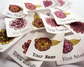 Organic Cotton Name Tags - personalized iron on clothing labels printed with flowers