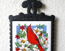 Vintage Home Decor 70's Trivet, Cardinal,