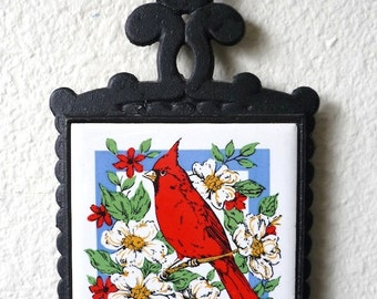 Vintage Home Decor 70's Trivet, Cardinal,