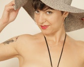 Vintage White and Navy Blue Threaded Wide Brim Floppy Beach Sun Hat
