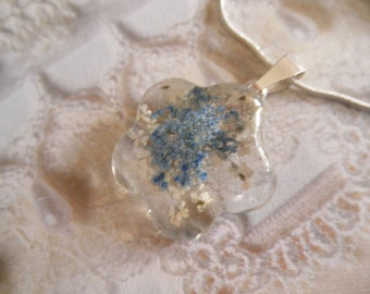 Peace-Blue and White Queen Anne's Lace Glass Flower Shaped Pressed Flower Pendant-Symbolizes Peace-Gifts Under 25