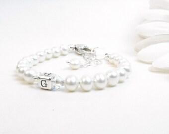 Baby Girl Bracelet // Baby Bracelet // Flower Girl Bracelet // Real Pearl Bracelet // Girl Pearl Bracelet // Child Monogram Bracelet