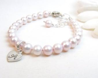 Pink Pearl Baby Bracelet // Baby Girl Bracelet // Baby Bracelet // Baby Initial Bracelet // Flower Girl Bracelet // Little Girl Bracelet