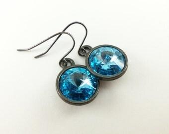 March Birthstone Earrings Aquamarine Drop Earrings Aqua Crystal Earrings Sterling Silver Dangle Earrings Classic