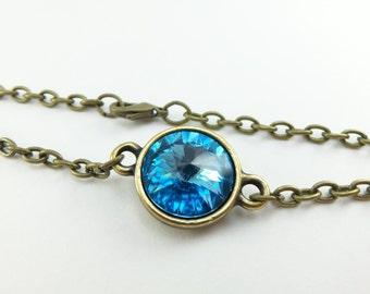 March Birthstone Bracelet Aquamarine Birthstone Brass Chain Bracelet Modern March Birthstone Bracelet