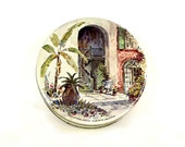 Vintage Cookie Tin, 1970 - Artsy Spice Cake Tin, Round Box, Fruit Cake Tin, Tropical Scene, Artwork, Home Decor - Collectible - 9 x 3