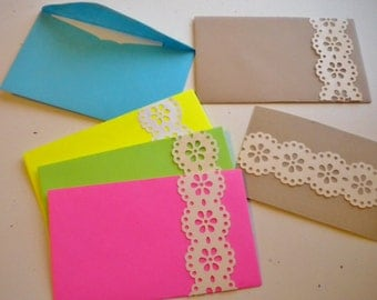 Lace mini cards and envelopes -  set of 5