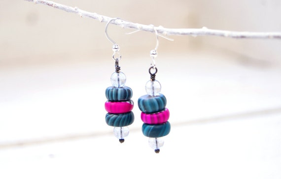 Crystal Modern Art Jewelry Earrings -Czech Glass,Teal and Fuchsia Polymer Clay Gypsy Trade Beads, Sterling Silver
