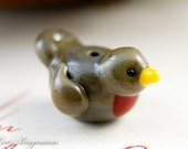 Robin Handmade Lampwork Bead, Brown Bird, Spring, Glass, SRA