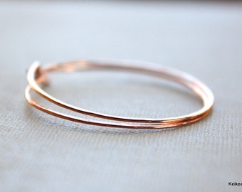 Copper Hoop Earrings Simple Round Hammered Hoops 20 Gauge Handmade Jewelry