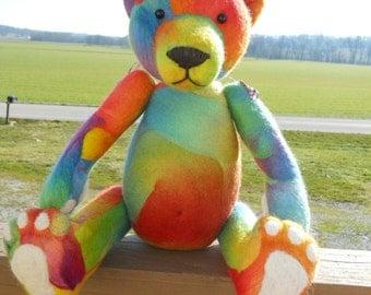 Teddy Bear Needlefelted Bear - Catspaw Bears Buttons & Bows Bear  Collectors Teddy Bear