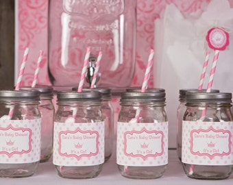 Princess Themed Water Bottle Labels - Princess Baby Shower Decorations in Hot & Light Pink (12)