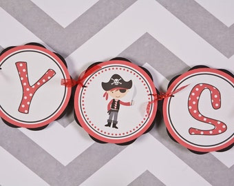 Pirate BABY SHOWER Banner - Baby Shower Decorations, Pirate Theme Baby Shower in Red and Black