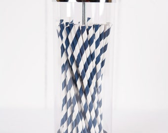 Bulk Blue Paper Straws - Made in the USA - 600 Navy Blue and White Striped - 25 Straws - Navy Paper Straw - Great for Birthdays & Weddings