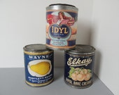 Unusual Large Rustic Canned Fruit Tins. Cherries, Peaches and Pears Antique Fruit Tin Cans. Museum Like Canned Food.