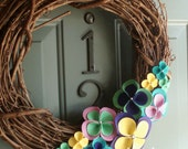Grapevine Wreath Felt Handmade Door Wall Decoration - Sunny Days 12in