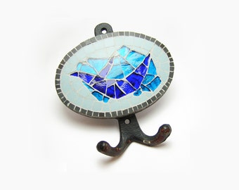 wall hook handmade mosaic with ceramic black, light blue tiles and blue stained glass tiles ( 5,12 in x 5,51 in ) - bluebird