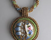 Bead Embroidery Woven Embroidered Necklace Pendant Button green gold filled