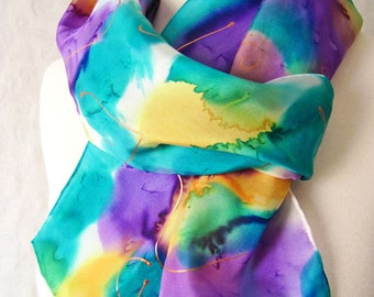 Silk Scarf Handpainted in Orchid Purple Springtime Floral