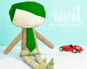 handmade little boy doll Gaspar - with green hair & tie