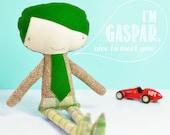 handmade little boy doll Gaspar - with green hair & tie