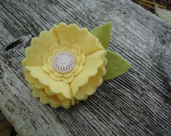 Yellow Felt Flower Hair Clip - Accented with antique cream button