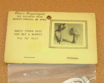 Miniature Basic Straw Hat Sun Hat and Bonnet Vintage 1970s Craft Kit for 5.5 Inch Doll